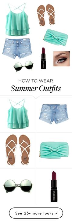 """""""Cute Summer Outfit 2016"""" by ravenclawsnitch on Polyvore featuring rag & bone/JEAN, Billabong, Smashbox and Revo"""