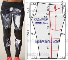 molde, corte e costura - Marlene Mukai Sewing Pants, Sewing Clothes, Diy Clothes, Dress Sewing Patterns, Clothing Patterns, Fashion Sewing, Diy Fashion, Diy Pantalon, Costura Fashion