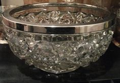 Great Cut Glass Bowl for chips, salad, fruits and More! Great Cuts, Cut Glass, Kitchenware, Punch Bowls, Primitive, Chips, Salad, Vintage, Potato Chip