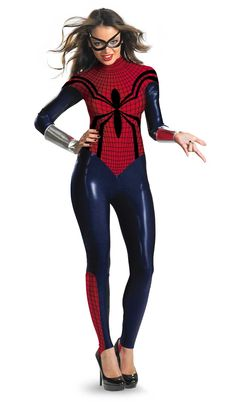 #Halloween I'm so excited to see a girl's superhero costume that isn't trashy or made up. I hate seeing girls' costumes like: sexy -insert male superhero here-. This costume is cool, original and looks super easy to wear! After seeing this costume, I was inspired to look up Spider Girl online and her comics sound awesome! :)