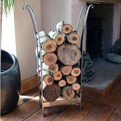 crown hand made wrought iron log stand