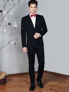 Unique elegant styling from the Bolf collection. The black blazer and chinos can easily replace a suit. Let's add a white long sleeve shirt and a red bow tie as an accessory.