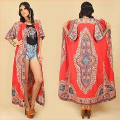 VtG 60s 70s DASHIKI Maxi Kimono Festival Jacket Dress Tribal HiPPiE Coachella (O)
