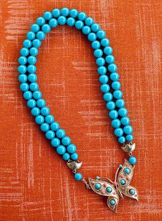 Tiffany Blue Butterfly by Kelley Hollis — Lesley Evers Turquoise Necklace, Beaded Necklace, Blue Butterfly, Tiffany Blue, Necklace Designs, Fashion Necklace, How To Wear, Jewelry, Beaded Collar