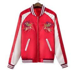 Dragon embroidered bomber jacket for girls zipper jacket coat autumn wear