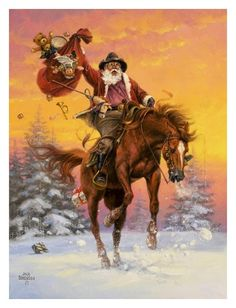 cowboy santa christmas horse merry funny saddle night sleeping campfire fun ranch cowgirl painting sorenson jack jesus jigsaw before riding Western Christmas, Merry Christmas, Christmas Horses, Father Christmas, Vintage Christmas Cards, Christmas Love, Country Christmas, The Night Before Christmas, Christmas Pictures