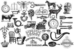 Check out Vintage Style Vector Logo Emblems by Eclectic Anthology on Creative Market