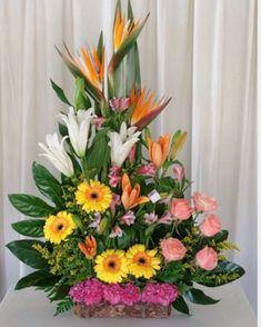Selecting The Flower Arrangement For Church Weddings – Bridezilla Flowers Tropical Flower Arrangements, Funeral Flower Arrangements, Beautiful Flower Arrangements, Beautiful Flowers, Altar Flowers, Church Flowers, Funeral Flowers, Exotic Flowers, Tropical Flowers
