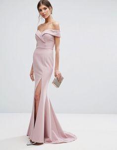 Jarlo Tall | Jarlo Tall Bardot Maxi Dress With Thigh Split And Train