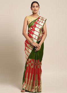 Sareetag Red+Green  Designer Classic Party Wear Saree Bridal Sarees Online, South Indian Sarees, Saree Shopping, Green Saree, Latest Sarees, Work Sarees, Traditional Sarees, Party Wear Sarees, Red Blouses
