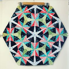 Sometimes you have to hang it on the wall for a few days waiting for an epiphany of how to quilt it. Foundation Paper Piecing, Star Quilts, Epiphany, Blanket, Sewing, Wall, Waiting, Christmas, Fabric