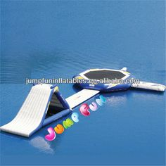 Source Water trampoline with water slide for inflatable aquatic park on m.alibaba.com