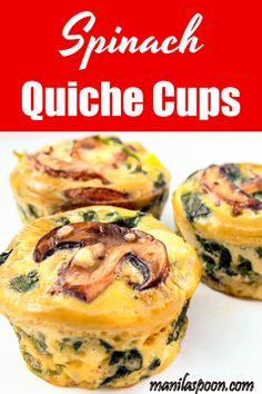 Completely gluten-free and low-carb is this healthy and delicious SPINACH QUICHE CUPS that everyone raves about. You can tweak the recipe to add your favorite vegetables! Best Breakfast Recipes, Low Carb Breakfast, Brunch Recipes, Baby Food Recipes, Low Carb Recipes, Cooking Recipes, Muffin Recipes, Breakfast Ideas, Crockpot Recipes