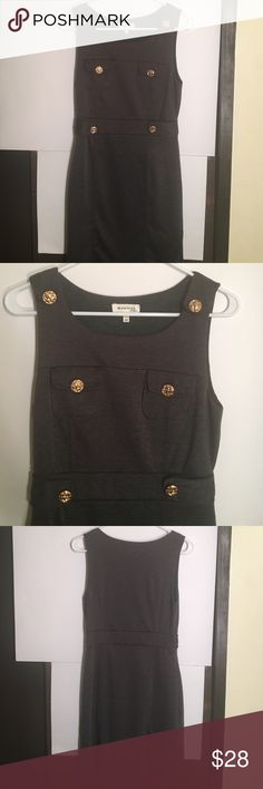Sexy Militant Gold Button Dress Los Angeles 💋🍸 Gray Dress With Gorgeous Gold Buttons. Los Angeles Style! Perfect For The Upcoming Holiday Seasons...Size M. Extremely Flattering! Monteau Dresses Midi