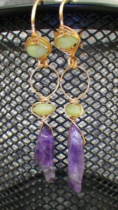 Amethyst and Jade with Copper Earrings Handmade by MoonScapeDesign, $35.00