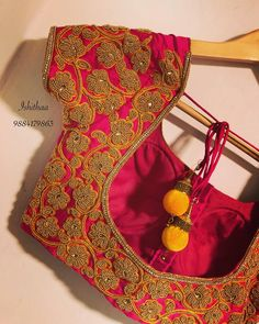 Bridal blouse from Ishithaa design house . Beautiful pink color bridal designer blouse with floret lata design hand embroidery bead work. Ping on 9884179863 to book an appointment. Wedding Saree Blouse Designs, Pattu Saree Blouse Designs, Blouse Designs Silk, Designer Blouse Patterns, Simple Blouse Designs, Stylish Blouse Design, Hand Embroidery, Embroidery Designs, Embroidery Stitches