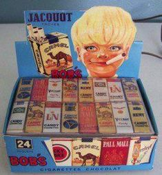 Bobs Chocolate Candy Cigarette Box lamp French Jacquot Troyes A big fan favorite Candy cigarettes. Oh I remember these when I was a kid! My friends and I got chewed out by a little old man in my neigh Vintage Candy, Vintage Toys, Retro Candy, Retro Vintage, My Childhood Memories, Best Memories, 1980s Childhood, Bonbons Vintage, Candy Cigarettes