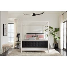 DHP Soho Modern White Metal with Canopy Bed