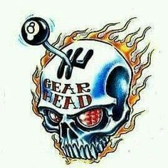 Art Gear Head Skull flames shifter eight ball Tattoo Flash Art ~A. Car Tattoos, Skull Tattoos, Tattoo Flash Art, Tatoo Art, Gear Head Tattoo, Tattoo Sketches, Tattoo Drawings, Ed Roth Art, Hot Rod Tattoo