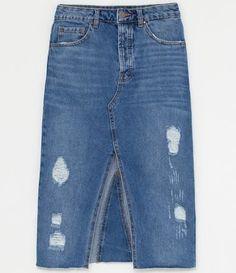 Saia Jeans Midi com Barra Desfiada e Fenda - Renner Look Blazer, Denim Skirt, Style Inspiration, Shorts, Stuff To Buy, Diy, Fashion, Shopping, Diy Clothing