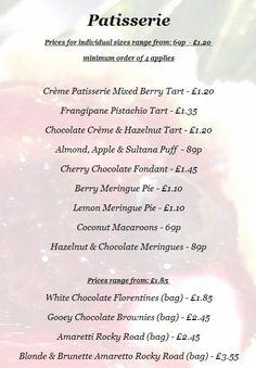 Patisserie Menu Chocolate Cherry, Chocolate Hazelnut, Berry Tart, Coconut Macaroons, Chocolate Fondant, Mixed Berries, Pistachio, Menu, Technology