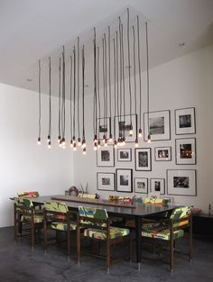 Lighting above the dining room table