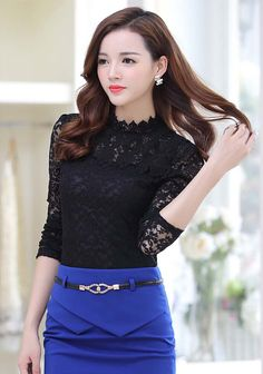 Women's #black long sleeve #TShirt floral lace hollow cut design, stand lace collar, Pull over.