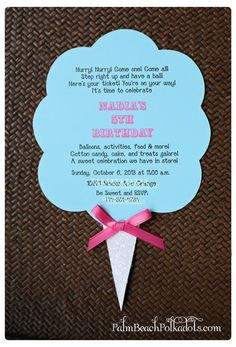 Cotton Candy Carnival Birthday Invitation by palmbeachpolkadots, $2.75