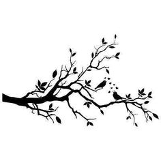 Love Birds On A Branch Wall Stickers / Wall Decals Bird On Branch, Bird Tree, Branch Art, Bird Silhouette, Silhouette Portrait, Wall Stickers, Wall Decals, Bird Applique, Stencil Painting