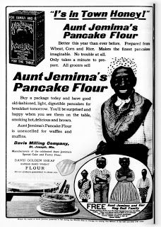 "Racial stereotypes have been used countless times to promote food-related products. Aunt Jemima specifically used to promote pancake-related food products has been in use over the years although the visual stereotype can be seen as racist indeed. This helps perpetuate the stereotype of African Americans being underrated in society and look at as ""the help."""
