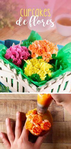Si estas buscando un regalo diferente prepara estos increíbles cupcakes con flores utilizando las famosas duyas rusas para la decoración. Son sencillas de usar y lucen muchísimo.