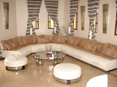 Exceptional Fresh Moroccan Living Room Creation For A High End Residence. Leather,  Silver, Cedar