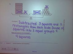 """We started our unit on two-step equations and inequalities last week. Day 1 Lesson was """"Picture Algebra"""" Day 2 Lesson w. 7th Grade Math, Math Class, Math Teacher, Class 8, Maths, Equivalent Expressions, Standards For Mathematical Practice, Two Step Equations, Solving Equations"""