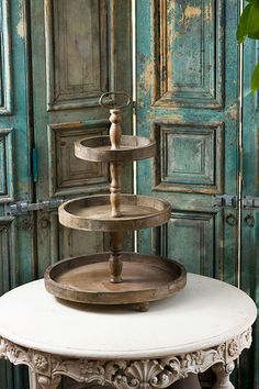Wooden 3-Tier Tray | VintageFarmhouseFinds.com