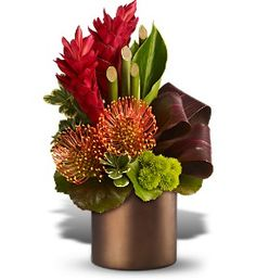 Ti Leaves, Pittusporum, Galax leaves, Button Poms, Ginger, Pincushion Protea, Bamboo