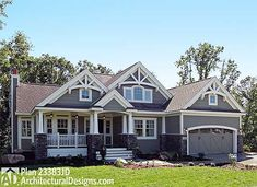 """Almost EXACTLY what I """"see"""" for my version of the floor plan for the built house. Gable roof and craftsman style and colors trim."""