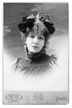 Sarah Bernhardt in her famous bat hat.