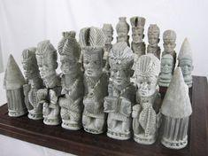 A Rhodesian stone chess set, mid 20th century.