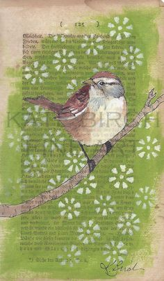 Little Sparrow original painting. $40.00, via Etsy.