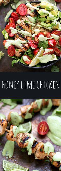 The BEST marinated honey-lime chicken with a Greek yogurt avocado sauce