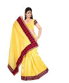 Yellow Bhagalpuri Saree With Blouse 60053