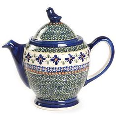 Polish Pottery Bluebird Teapot.  We have a great selection of Polish Pottery at the shop.