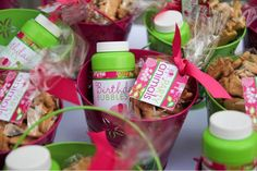 """Party Favors up close--Custom bubbles and """"party animals"""" for each guest--adorable! 