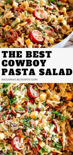 The best cowboy pasta salad, Pasta salad recipes, Taco pasta salad, Southwest pasta salad, Shrimp pasta salad, Cowboy pasta ground beef, Cowboy pasta salad ground beef, Cold pasta salad recipes, Cowboy pasta salad, Pasta salad with italian dressing, Summer recipes, Spaghetti salad with italian dressing, Mexican side dishes. #cowboy #pasta #salad #desserts #macaroni #recipes