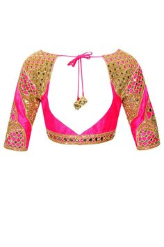 ARPITA MEHTA Indigo salli and mirror work sari with bright pink embroidered blouse available only at Pernia's Pop-Up Shop.: