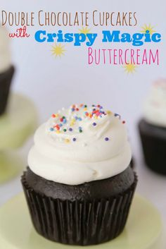 Double Chocolate Cupcakes with Crispy Magic Buttercream | http://confessionsofacoo... http://#cupcakes http://#chocolate http://#buttercream