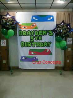 Tmnt ninja turtle party theme decor wall banner birthday!  For sale used, I also take custom orders, contact me!
