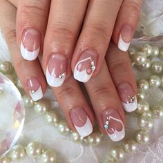 102 festive and easy christmas nail art designs you must try page 45 Simple Wedding Nails, Wedding Manicure, Wedding Nails For Bride, Bride Nails, Wedding Nails Design, Weding Nails, Nail Wedding, Glitter Wedding, Blue Wedding