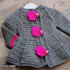 How to make a girl's crochet coat very easy Crochet Baby Sweater Pattern, Gilet Crochet, Crochet Baby Sweaters, Crochet Poncho Patterns, Crochet Coat, Baby Girl Crochet, Crochet Baby Clothes, Crochet Cardigan, Crochet For Kids