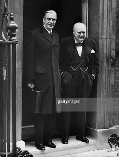 Sir Winston Churchill (1874 - 1965) with Sir Anthony Eden on the steps of 10 Downing Street, London. Sir Winston guided Great Britain through the crises of WW2, retired as Prime Minister, aged 81, handing over to Anthony Eden on this day 5th  April, 1955